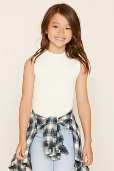Forever 21 Girls - A ribbed knit top with a sleeveless cut and a high round neckline.