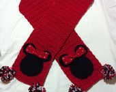 Minnie Mouse Scarf  - Child Size 5 inches by 48 inches. $15.00, via Etsy.