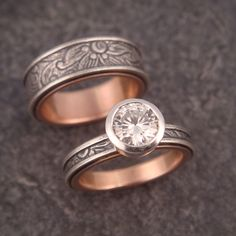 Wedding band/engagement ring set - Sunflower pattern sterling silver band with 14k rose gold lining. Sterling silver bezel-set moissanite stone. Handmade by Chuck Domitrovich of Down to the Wire Designs.