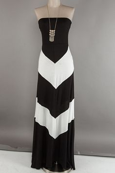 Black and White Color Blocked Dress