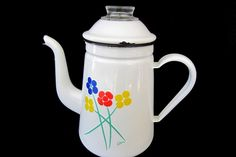 Vintage Enamel Coffee Pot Percolator Saltera Pyrex Glass Dome Flowers White   Please RePinit, ReTweet and Share on FB