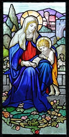 Mary and Child Jesus Christ by William Morris, Blessed Virgin Mary, Christon, Somerset, UK.  In the South wall is this beautiful window by William Morris.