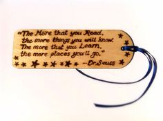 Wooden Natural Bookmark Dr Seuss Quote Pyrography Hand Burnt Stocking Filler BookWorm