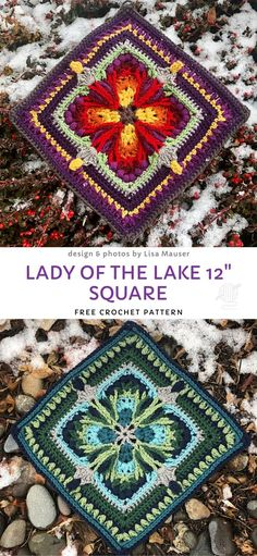 Lady of the Lake 12 Square Free Crochet Pattern Crochet Squares Afghan, Crochet Blocks, Granny Square Crochet Pattern, Crochet Granny, Crochet Blanket Patterns, Diy Crochet, Crochet Crafts, Crochet Stitches, Crochet Projects