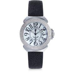 Lancaster Women's Watches Pillola Galuchat Women's Watch w/Diamonds (86.450 RUB) ❤ liked on Polyvore featuring jewelry, watches, black, women's watches, diamond jewellery, quartz movement watches, diamond jewelry, leather band watches and lancaster watches