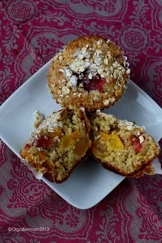 Mango & Sour Cherry Oatmeal Muffins