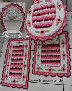 Wilma Crochê Granny Square Crochet Pattern, Crochet Patterns, Tapetes Diy, Crochet Kitchen, Bathroom Sets, Seat Covers, Tissue Holders, Couture, Garland