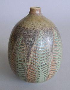 Stig Lindberg ceramic vase, fern leaf design, marked on bottom.  5''h