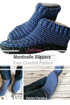 Quick Double-Sole Slippers Free Crochet Pattern For Women And Men gift . Quick Double-Sole Slippers Free Crochet Pattern For Women And Men gift ideas quick Quick Double-Sole Slippers F. Easy Crochet Slippers, Crochet Slipper Boots, Knit Slippers Free Pattern, Crochet Shoes Pattern, Free Crochet Slipper Patterns, Knitting Patterns, Sewing Patterns, Quick Crochet Patterns, Booties Crochet