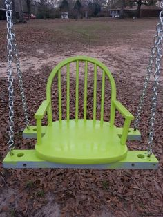 Repurposed chair swing Backyard Projects, Outdoor Projects, Outdoor Decor, Outdoor Dining, Papasan Chair, Diy Chair, Chair Cushions, Diy Garden Furniture, Repurposed Furniture