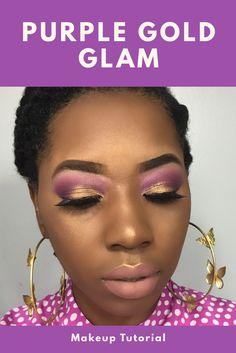 Makeup Ideas Purple & Gold Glam Makeup Tutorial. Easy Affordable Makeup Turtorial For Black Woman. Glam Bridal Makeup Tutorial.