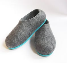 Felted Shoes Grey with Contrasting Color Sole Green Electric Mens sizes