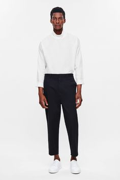be1245823d9 COS image 6 of Relaxed cotton trousers in Navy