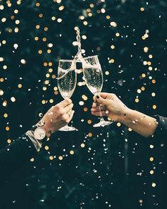 Happy New Year - champagne cheers - festive party drinks