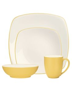 Shop for colorwave mustard 4 piece place setting at Bed Bath & Beyond. Buy top selling products like Noritake® Colorwave Coupe Place Setting in Mustard and Noritake® Colorwave Square Place Setting in Mustard. Shop now! Square Dinnerware Set, Dinnerware Sets, Yellow Dinnerware, Earthenware, Stoneware, Mustard Bedding, Modern Tabletop, Casual Dinnerware, Table Set Up