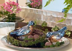 These Mercury Glass Birds come complete with nest and eggs  H202729 http://qvc.co/-Shop-ValerieParrHill