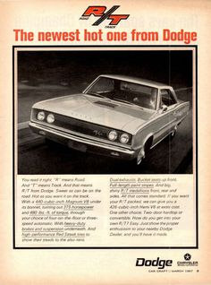 "1967 DODGE CORONET R/T 440 Magnum Car Ad ""The newest hot one from Dodge"""