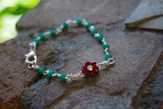 Little Flower Chaplet Bracelet with Red Flower by TheseJoyfulAches