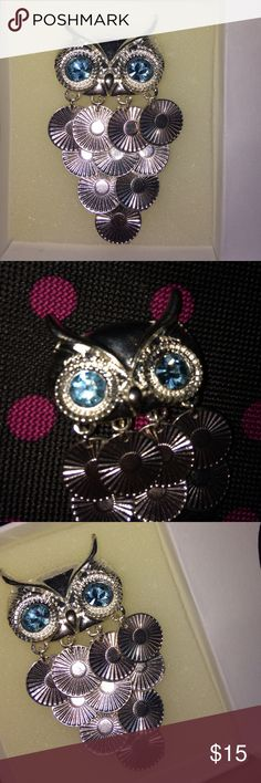 Owl necklace 13 inch chain necklace owl with blue eyes Jewelry Necklaces