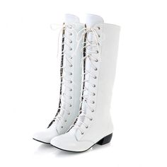eBay | White PU Leather Low Heel Zip Lace Up Knee High Boots Women's Shoes US Sz 7 C058