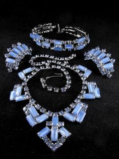 Vintage Blue Moon Rhinestone Parure Bracelet by hipcricket on Etsy, $145.00