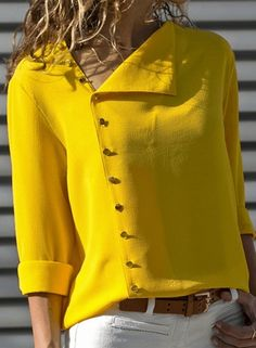Summer 2018 Fashion Button Long Sleeve Yellow White Shirt Womens Tops And Blouses Female Tunic Office Chemise For Feminina FemmeLong Sleeve Shift Buttoned Casual Solid Blouses – Miss ArtyDamen Langarm-Button-Down-lose beiläufige grundlegende Bluse Hippie Hose, Mode Hippie, Chiffon Shirt, Chiffon Blouses, Mode Inspiration, Blouses For Women, Ladies Blouses, Ladies Shirts, Ladies Dresses