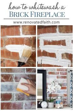 "How to Whitewash a Brick Fireplace (Faux German Smear with Paint!) How to Whitewash a Fireplace – Get the look of the German Smear or ""Mortar wash"" with paint and this easy tutorial. Update your brick fireplace or accent walls with this DIY technique that White Wash Brick Fireplace, Brick Fireplace Makeover, Farmhouse Fireplace, Farmhouse Decor, White Wash Brick Exterior, Faux Fireplace, Brick Fireplace Remodel, Fireplace Whitewash, Brick Fireplace Decor"