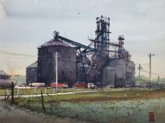 Richie Vios Buildings, Sketches, Industrial, Urban, Watercolor, Architecture, Artist, Painting, Watercolor Art