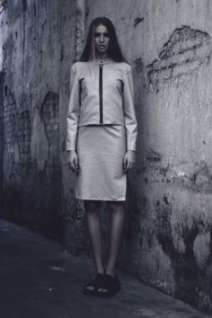 Alia B Pre-Fall 2014  Biker jacket in jacquard with matching slitted pencil skirt.