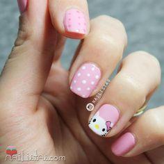 uñas para niñas Pretty Nail Colors, Pretty Nails, Cat Nails, Pink Nails, Nail Art For Kids, Hello Kitty Nails, Pearl Nails, Girls Nails, Cute Nail Art