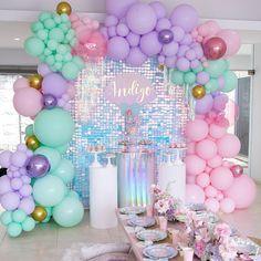Mermaid Theme Birthday, Little Mermaid Birthday, Birthday Love, Unicorn Birthday Parties, Unicorn Party, Balloon Decorations Party, Balloon Garland, Birthday Party Decorations, Balloons