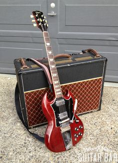 "mmguitarbar: a '68 Gibson SG Standard with Lyre Vibrola and an early '90s Vox AC306TB. Instant '60s breakup from this pair, and what I like to call ""Tweedy Tone"" is on tap! Turn it up and go to town… See Wilco's ""At Least That's What You Said"" for amazing guitar amazingness!"