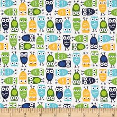 Robert Kaufman Urban Zoologie Mini Owls White from @fabricdotcom Designed by Ann Kelle for Robert Kaufman, this cotton print is perfect for quilting, apparel and home decor accents. Colors include yellow, white, shades of blue, and shades of green.