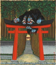 Otoroshi- Japanese folklore: a creature described as having two huge eyes, two protruding tusks, and a black swirling mane. It perches on top of temple gates that divide the human and divine worlds. Those who pass through the gate who do not respect the holiness, they are crushed by the otoroshi.