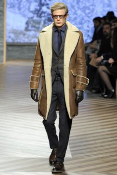 Milanstyle - Zegna oversized shearling coat and suit.