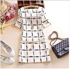 2015 Summer New Korean Edition Cultivate Morality Slim Chiffon dress Black and White Squares Dress Plus size vestidos femininos