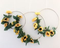 Metal Hoop Wreath Simplistic Shabby Chic Green Eucalyptus Wreath Succulent Gold or Brass Simple Wedding Baby Nursery RusticShabby Chic Decor - Impressive and really dazzling shabby room styling tactics plus tips. The pin image reference 3021286063 cl Sunflower Nursery, Sunflower Room, Sunflower Party, Sunflower Baby Showers, Sunflower Wreaths, Sunflower Decorations, Chic Nursery, Rustic Nursery, Rustic Baby