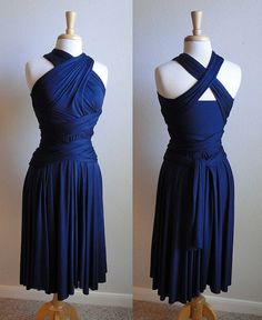 convertible infinity wrap dress in navy