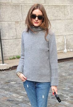 Want cool hair? Just wear a turtleneck, the It jumper of the season hair tucked in