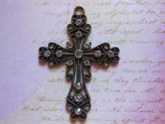 1 Large Rhinestone Cross PendantAntique Finish 2 by TheBlingStash