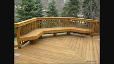 built in deck seating as railing
