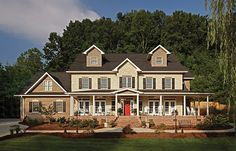Gorgeous brick elements contribute to this home's considerable charm. Brick quoins, dramatic brick stairs and a soldier course accent band all add visual interest. Learn more about what you can do with brick at http://insistonbrick.com/.