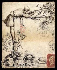 Hand Illustrated and Later Printed Envelopes 1868 (June) envelope with a superb pen and ink illustration depicting fishing, from Dublin to London Ink Illustrations, Hand Illustration, Mail Art, Vintage Ephemera, Vintage Postcards, Vintage Images, Art Carte, Decorated Envelopes, Envelope Art