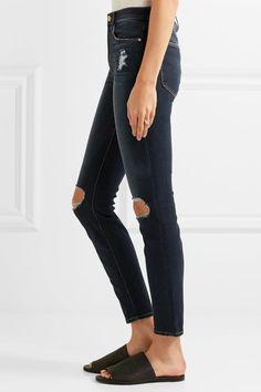 FRAME - Le High Distressed Skinny Jeans - Mid denim - 29