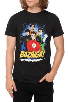 Bazinga! t-shirt with the popular 4 nerds as superheroes from the Big Bang Theory show.