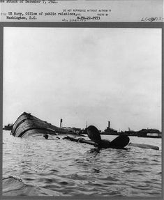 The U.S.S. Oklahoma lying capsized in Pearl Harbor following the Japanese attack of December 7 1941. (Photo: Library of Congress Prints and Photographs)