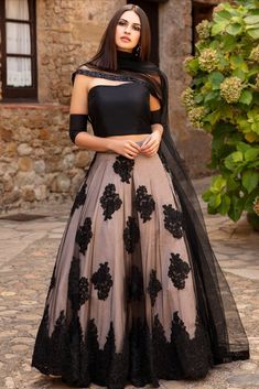 Cream And Black Colour Butterfly Net Fabric Lehenga Choli Comes with matching blouse. This Lehenga Choli Is crafted with Thread Work This Lehenga Choli Comes with Unstitched Blouse Which Can Be DM us Or whatsapp to place order Indian Gowns Dresses, Indian Fashion Dresses, Dress Indian Style, Indian Designer Outfits, Pakistani Dresses, Indian Designers, Indian Wear, Indian Fashion Trends, Dresses 2013