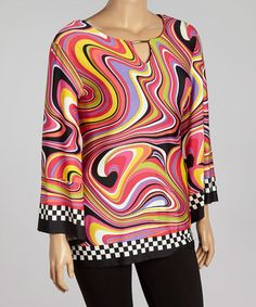 I love Pucci and this is so 60's ...Loving this Black & Pink Swirl Notch Neck Tunic - Plus on #zulily! #zulilyfinds