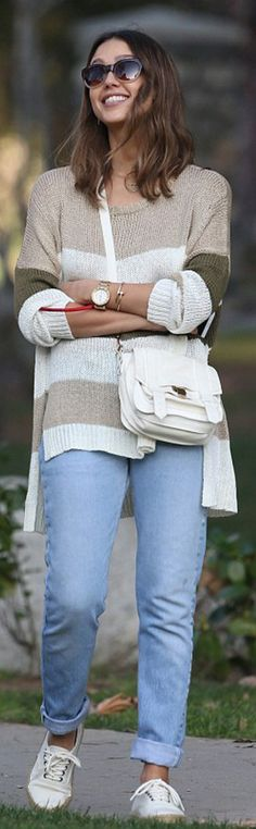 Who made Jessica Alba's tan stripe sweater, white shoes, sunglasses, gold jewelry and white handbag?