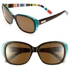 kate spade new york 'hilde' 54mm polarized sunglasses Olive Tortoise One Size. Stripe-lined temples lend a fun touch to classic sunglasses outfitted with protective polarized lens......[$158.00]